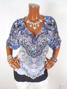 DANA B Womens Top L Loose Light Wt Summer Blouse Casual Shirt Purple Blue White #DanaBuchman #Blouse #Casual