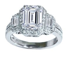 Three Stone Emerald Cut Halo Vintage Engagement Ring - ES870EC