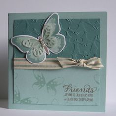 Card made with the Watercolour Wings stamp set and Bold Butterfly Framelits in a Lost Lagoon and Pool Party Color scheme.