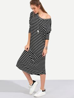 Shop Black White Stripe Long Sleeve Shift Midi Dress online. SheIn offers Black White Stripe Long Sleeve Shift Midi Dress & more to fit your fashionable needs.