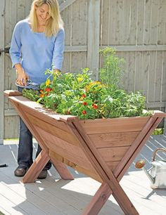 """Made in USA from top-quality western red cedar, the Garden Wedge elevated bed is 18"""" deep at the center for large plants, and shallower at the edges for smaller greens and herbs. The perfect height for no-bend gardening."""