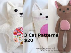 Make 3 cats $24Cdn - Cat Sewing Pattern & Tutorial  - easy, simple, cloth, fabric, softie, doll, toy, gift, craft, DIY. via Etsy.