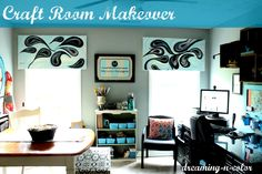 dreamingincolor: A Dream Begins {A Craft Room Makeover} Reveal - I love love love the window valances that she made from painted canvases!  Brilliant idea!