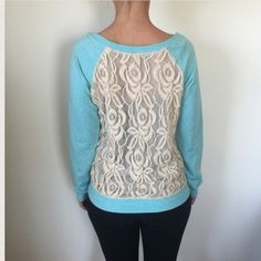 "POOF!   NWT NWT  Cute Blue Sweater with lace backBust 36"". Length 22"". 100% Cotton. Poof! Sweaters Crew & Scoop Necks"