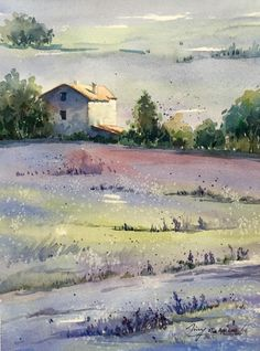 Lavender Morning (2016) Watercolours by Jing Chen   Artfinder