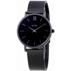 Cluse Minuit Black Dial Black Mesh Ladies Watch ($70) ❤ liked on Polyvore featuring jewelry, watches, mesh watches, dial watches, analog wrist watch, crown jewelry and quartz movement watches