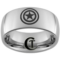 10mm Dome Tungsten Carbide Captain America Laser Design Ring Sizes 5-17 - FREE Shipping. $49.00, via Etsy.