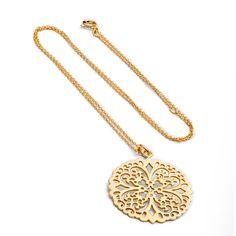 Stellar Gold Plated Ornate Sterling Silver Pattern Necklace by Azuni London