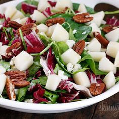 Autumn Salad With Pears And Gorgonzola With Red Wine Vinegar, Dijon Mustard, Honey, Salt, Ground Pepper, Olive Oil, Pears, Cheese, Baby Greens, Pecans