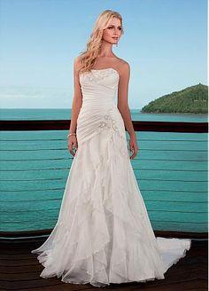 [181.37] Charming A-line Strapless Chiffon Wedding Dress For Your Beach Wedding - Dressilyme.com
