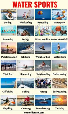 In this lesson, you will learn a list of water sports in English with ESL pictures and example sentences to help you enhance your vocabulary. English Verbs, Learn English Grammar, English Writing Skills, English Vocabulary Words, Learn English Words, English Phrases, English Language Learning, English Lessons, Teaching English