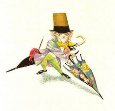 Jiri Trnka - Man with Unbrella Book Illustrations, Children's Book Illustration, Watercolor Illustration, Children's Literature, Animation Film, Umbrellas, Decoration, Puppets, Childrens Books