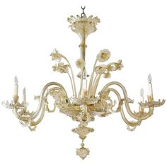 Preowned Large 20th Century Venetian Murano Glass Chandelier With Six... ($9,750) ❤ liked on Polyvore featuring home, lighting, ceiling lights, beige, chandeliers, antique white chandelier, coloured chandelier, cream chandelier, flower chandelier and colored chandeliers
