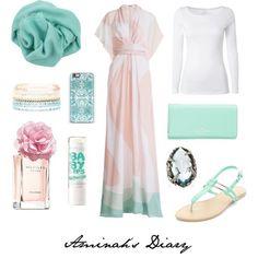 Hijab Fashion 2016/2017: aminahshijabdiary #hijab #muslimah #style #fashion #ootd #outfit #look #kimono #dress #mint #pink #combination