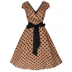 Mary Ellen' Brown Polka Dot Swing Jive Dress