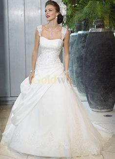 [US$239.99] Fabulous White A-line Sweep Wedding Gown