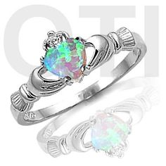 Light Blue Moon Fire Opal HEART Cut Genuine Sterling Silver CLADDAGH Ring SIZE 8