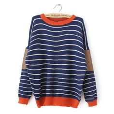 fall 2013 new Korean women's casual stripes spell skin loose wild sweet jumper