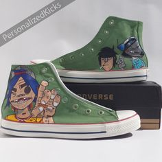 san francisco fe0b0 2accd Gorillaz Converse Shoes Hand Painted Custom by PersonalizedKicks