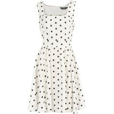 White/black spot dress ($46) ❤ liked on Polyvore featuring dresses, vestidos, white, casual dresses, day dresses, women's dresses & skirts, white dot dress, black and white dress, polka dot dress and white cotton dress