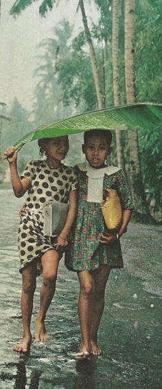 Balinese umbrella walking in the rain 1969 Indonesia