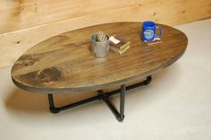 Oval Industrial Coffee Table Reclaimed Wood by sumsouthernsunshine