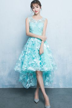 Green lace high low  homecoming dresses for teens #fashion #style #homecoming