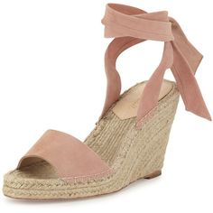 Loeffler Randall Harper Ankle-Wrap Wedge Espadrille Sandal (429 AUD) ❤ liked on Polyvore featuring shoes, sandals, heels and boots, wedges, blush, platform espadrilles, wedges shoes, leather sandals, leather platform sandals and espadrille wedge sandals