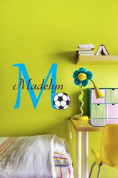 Soccer Wall Decal  monogram and name vinyl by BreezePrintCompany, $38.00