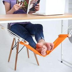 This unique hammock design replaces that extra chair you use to prop your feet up. The foot rest is a desk hammock designed specifically for resting your feet. 1 x Canvas Foot Rest Desk Hammock. 1 x Feet Hammock. Adjustable Desk, Best Desk, Hammock Stand, Diy Hammock, Indoor Hammock, Hammock Chair, Home Gadgets, Office Gadgets, Kitchen Gadgets
