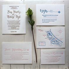Typographic Letterpress Wedding Invitation Suite by Coco Press