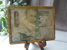 Items similar to Antique Dairy Advertising Thermometer With Tin Frame, Glass , Ephemera Print, Baby, Puppy & Kitten on Etsy Ladies Gents, Little Girls, Tin, Kittens, Dairy, Advertising, Puppies, Country Living, Antiques