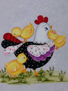 Mae dedicada Chicken Crafts, Chicken Art, Fabric Painting, Painting On Wood, Rock Crafts, Arts And Crafts, Art For Kids, Crafts For Kids, Chicken Quilt