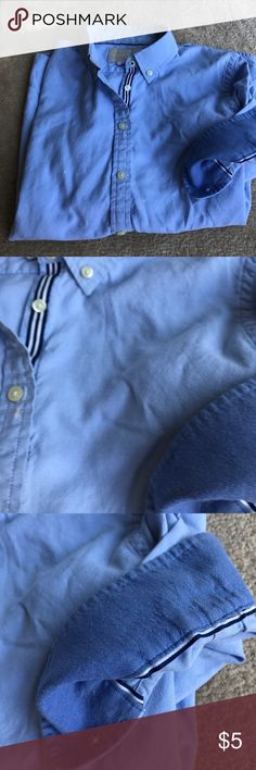 Oxford cloth button banana republic button down Great piece for your closet gently used there are a few bleach stains teeny tiny pin size but priced to sell grosgrain ribbon and runs down the button side and the cops are darker Blue this shirt is priced to sell Banana Republic Tops Button Down Shirts