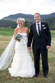 Briar and Mark. Wedding Couples, Real Weddings, Amanda, Bouquet, Wedding Dresses, Fashion, Bride Dresses, Moda, Bridal Gowns