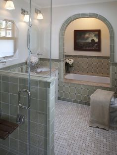 Basketweave Tile Design, Pictures, Remodel, Decor and Ideas     tub in a nook