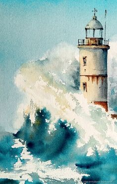 Watercolor Sea, Watercolour Painting, Watercolor Landscape, Lighthouse Painting, Lighthouse Storm, Sailboat Painting, Sea Art, Seascape Paintings, Painting Inspiration