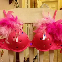 """A pink bra my sister decorated for the """"Walk For A Cure"""" Breast Cancer Walk. :)"""