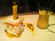 Nougat Glace with Pineapple, Passion Fruit Sharbat