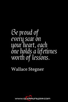 Be proud of every scar on your heart, each one holds a lifetimes worth of lessons. Wallace Stegner