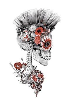 Floral Skull Series 'Momento Mori Punk II' Graphic Art Print on Canvas Wall Art Prints, Canvas Prints, Canvas Art, Joan Miro Paintings, Watercolor Paintings For Beginners, Floral Skull, Muse Art, Skull Art, My Drawings