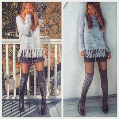 Day 3  Casual chic .. Fringe turtle neck from #topshop shorts #aliceandolivia boots #stuartweitzman