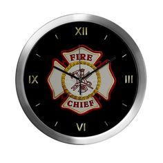 Fire Chief Maltese Modern Wall Clock