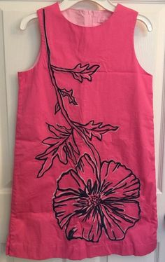 Lilly Pulitzer Shift Dress 14 Hot Pink Embroidered Poppy Flower Sundress Girls #LillyPulitzer