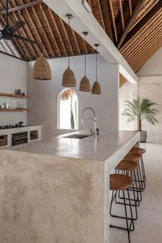 Neutral Toned Kitchen Design Inspired by Bali. Interior Design Minimalist, Modern Kitchen Design, Home Interior Design, Interior Modern, Rustic Home Design, Interior Home Decoration, Ibiza Style Interior, Yurt Interior, Tropical Interior
