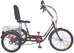 Tri-Rider Semi Recumbent 6 Speed Comfort Adult Trike has a V-brake in front and a band brake in the rear. Adult Tricycle, Trike Bicycle, Cycle Chic, Vinyl Cover, Bike Frame, Seat Pads, Electric Scooter, Cycling Bikes, Cycling Outfit