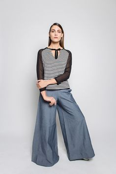 #lafemmemimi #fashion #prague #autumn #winter #2015 #lookbook #top #blackandwhite #striped #bow #blue #baggy #trousers