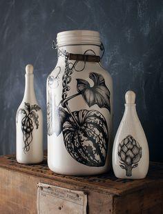 Laura Zindel Design Studio Tour: Beet and Artichoke Bottles and Large Gourd Jug