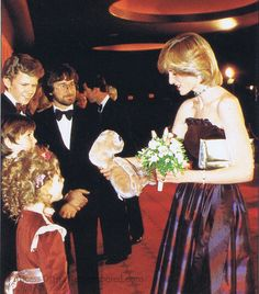 Diana at the premiere of E.T. with Drew Barrymore, Steven Spielberg and the rest of the cast.