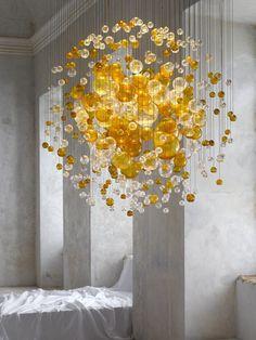 Lustre contemporain / en verre - BUBBLES IN SPACE : 13-CL-003 by Jitka Kamencová Skuhravá - LASVIT